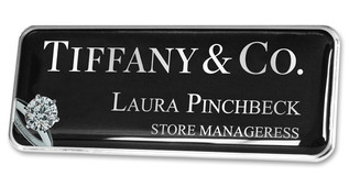 Prestige Premium name badges - Silver border and black / silver chrome background | www.namebadgesinternational.ae